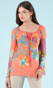 Hale Bob Blooming Bouquet Silk Tunic Top