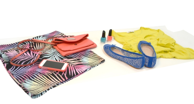 Neon Skirt - Forever 21 / iPhone 5 Case - CaseCrown / Satchel - Nine West / Nail Polish - Drugstore Brand / Shirt - Old Navy / Flats - Zara