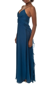 Rebecca Taylor Pacific Blue Ruffle Gown